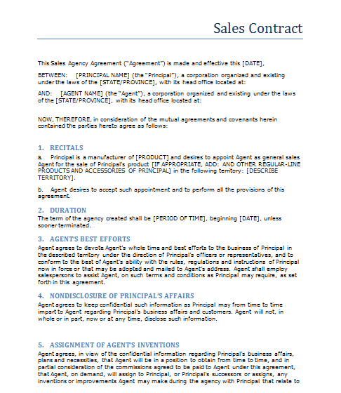 Sales Contract Template  Basic Contract Outline