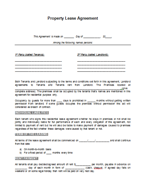 ... Lease Agreement Template,. If ...  Lease Contract Format