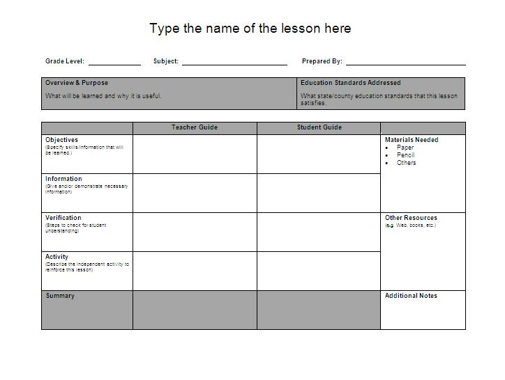 Lesson Plan Layout | Word Documents & Templates
