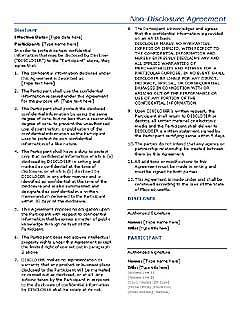 Non Disclosure Agreement Template 02  Free Printable Non Disclosure Agreement