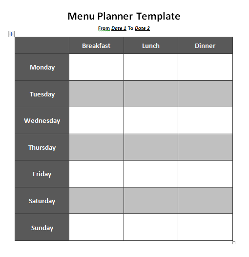 Menu Planner Template  Free Weekly Menu Templates