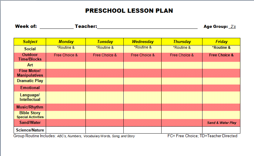 Preschool Lesson Plan Template 7 Download Free Documents In Pdf