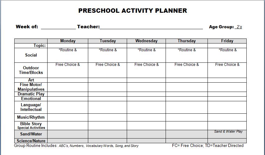 Preschool Lesson Plan Format Antaexpocoachingco - Free daily lesson plan template printable