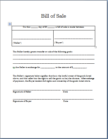 Bill of Sale Format | Word Documents & Templates