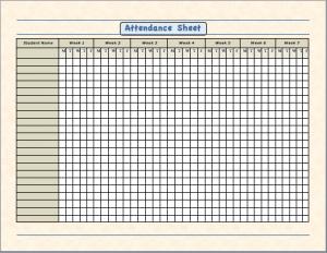 school attendance sheet template .