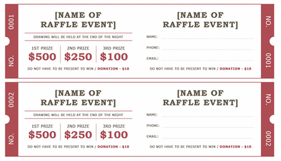 Raffle Ticket Template - 5 Free Printable Templates - Word Templates