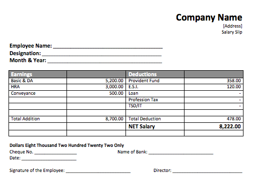 Marvelous Salary Slip Template And Free Wage Slips Template