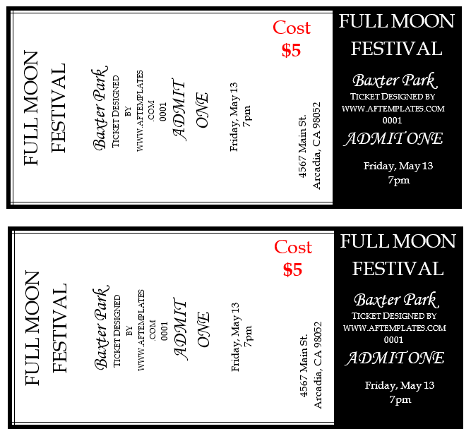 festival ticket templates 2