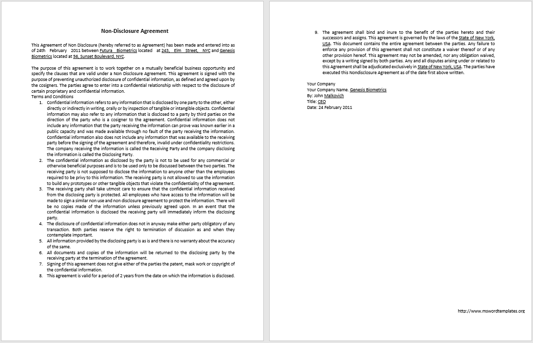 non-disclosure agreement template 11