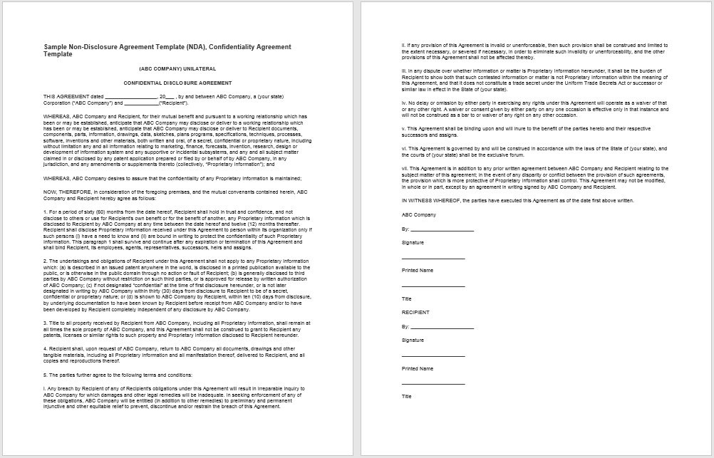 non-disclosure agreement template 12