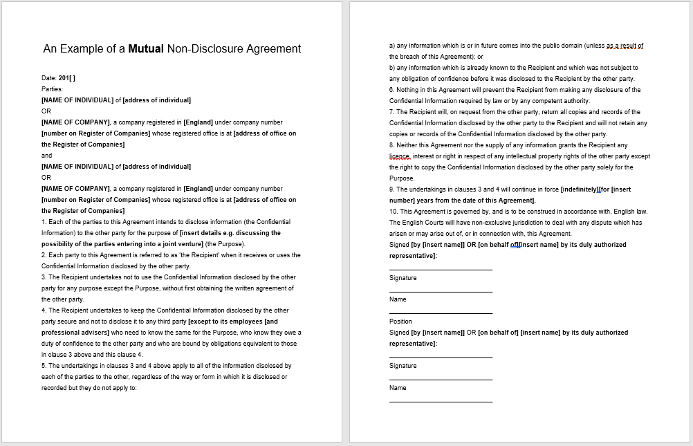 non-disclosure agreement template 13