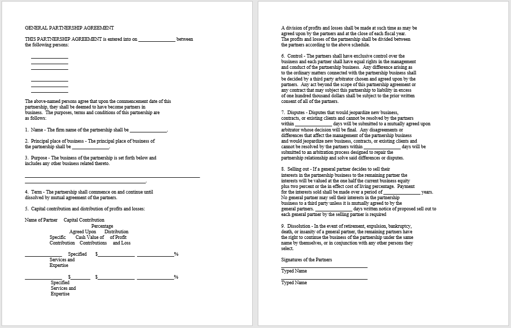 partnership agreement template 06