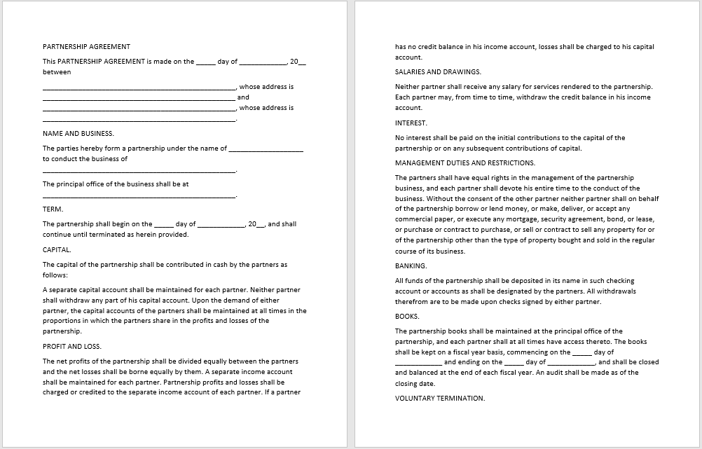 partnership agreement template 08