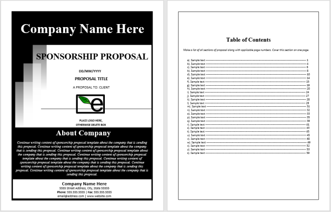 sponsorship proposal plan Sponsorship packages, sometimes also called sponsorship proposals, almost always consist of a sponsorship proposal letter and an accompanying document describing the sponsorship levels that you are offering although both of these documents are important, the sponsorship proposal letter is where you will do most of your convincing if you cannot quickly convince a prospective sponsor.