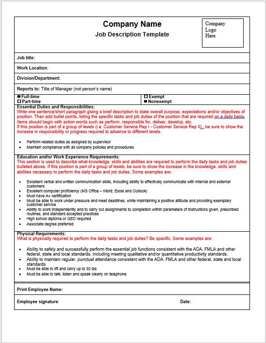 Job Description Template 2