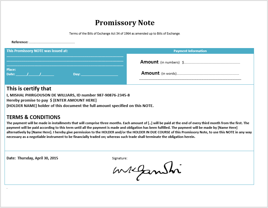 promissory note template 04