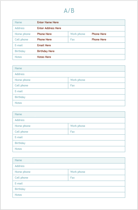 Address Book Template - MS Word 04