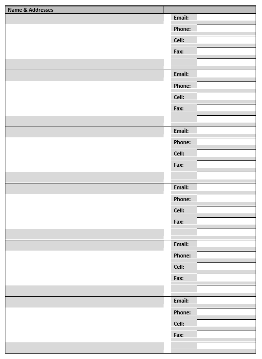 Address Book Template - MS Word 07