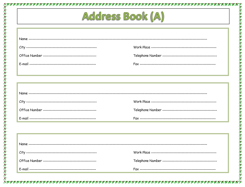 Address Book Template - MS Word 10