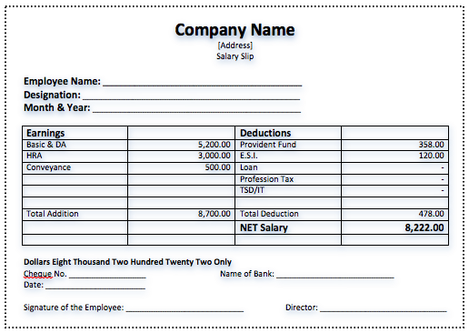 Salary Slip Templates 5 Free Printable – Payslip in Word Format