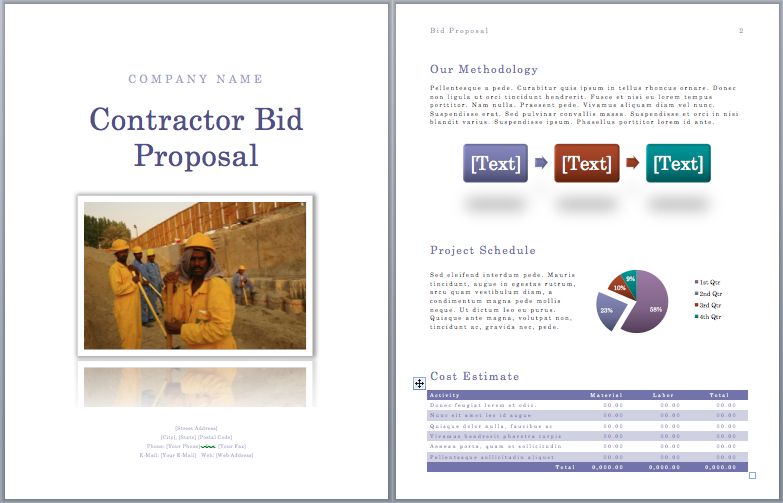 Contractor Bid Proposal Template  Proposal Template Microsoft Word