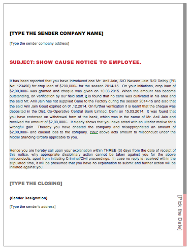 show cause notice to employee format Download a free termination letter template for word and view a sample   terminating an employee is never easy, whether due to the emotions or due to  the legal  it may be better to show genuine concern instead of no emotion at all.