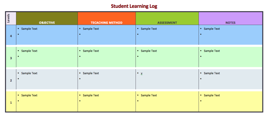 Student Learning Log Template