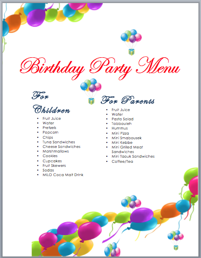 Birthday Party Menu Template Word Templates