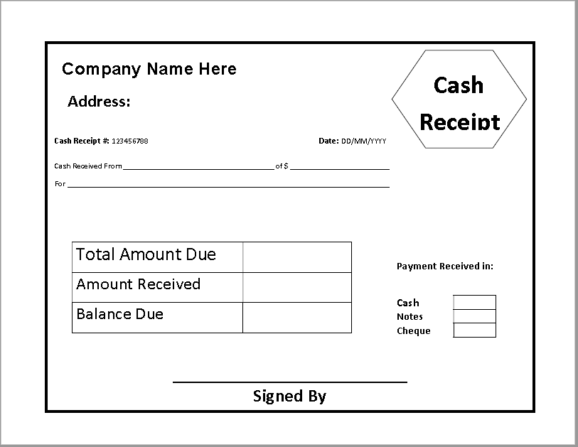 Cash Receipt Template 07