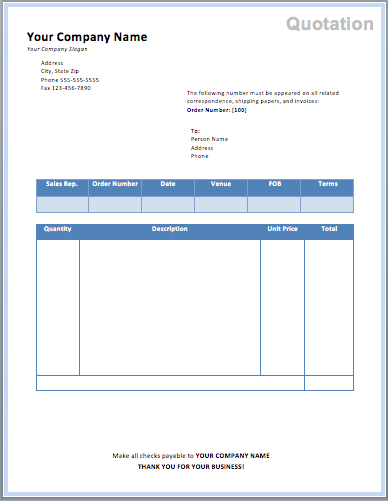 free quotation template word .