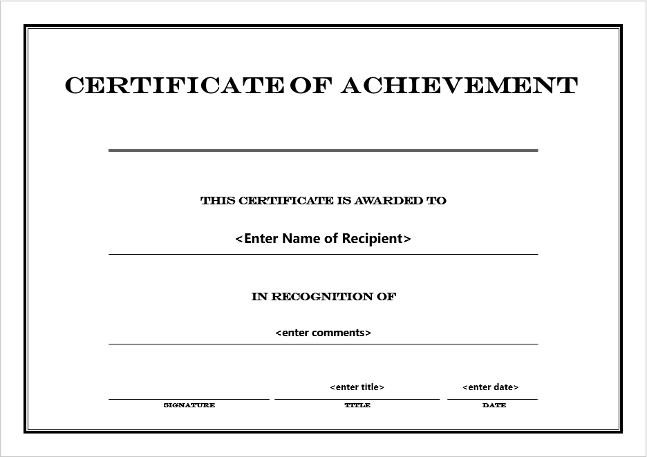Certificate templates archives word templates achievement certificate template 6 free printable templates yadclub Images