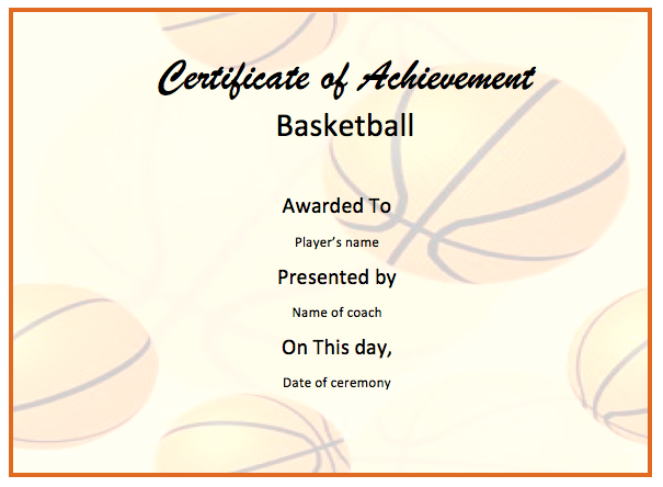 Basketball Certificate Template