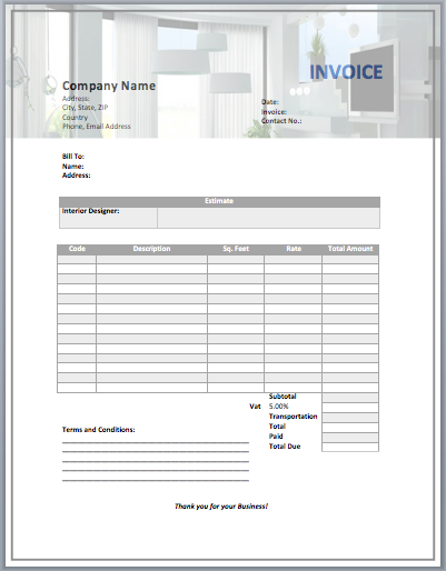 Interior Design Invoice Template Word Templates - Interior design invoice examples