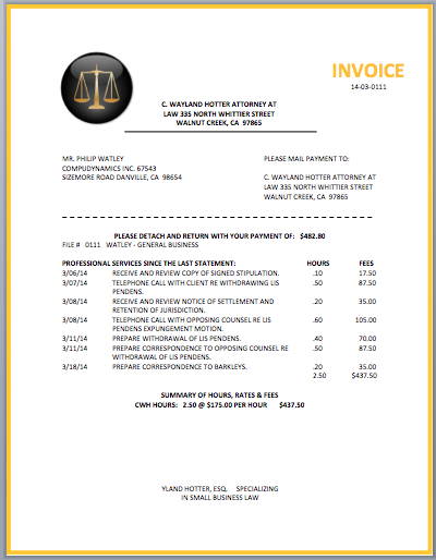 Legal Attorney Invoice Template