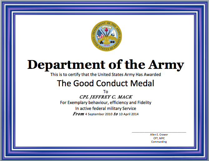 Good Conduct Certificate Template