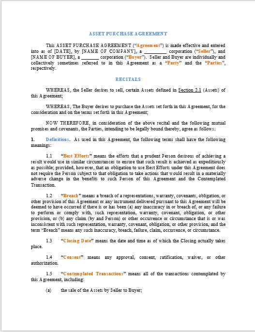 Purchase Contract Word Template 01