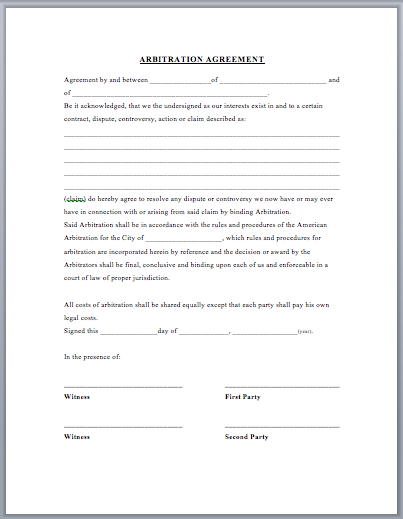 Arbitration Agreement Template Word Templates