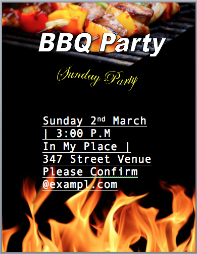 BBQ Party Invitation Flyer Template - Word Templates