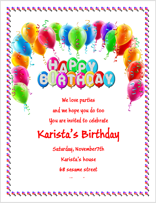 Birthday Party Invitation Flyer Template – 3 Printable Designs ...