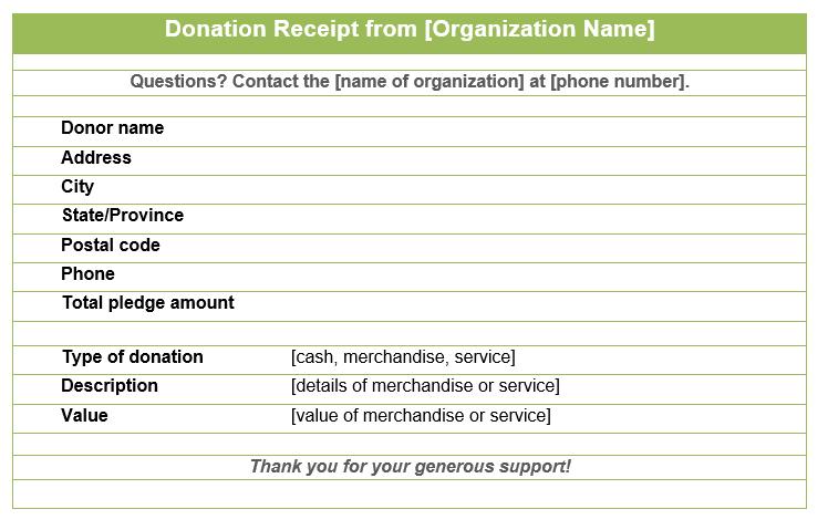 Donation Receipt Template 05