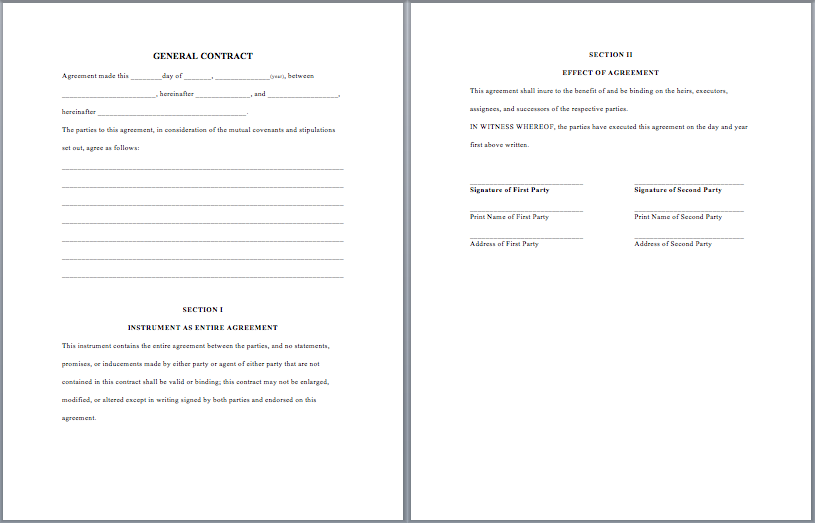 General Purpose Contract Template  Contractor Agreement Template Word