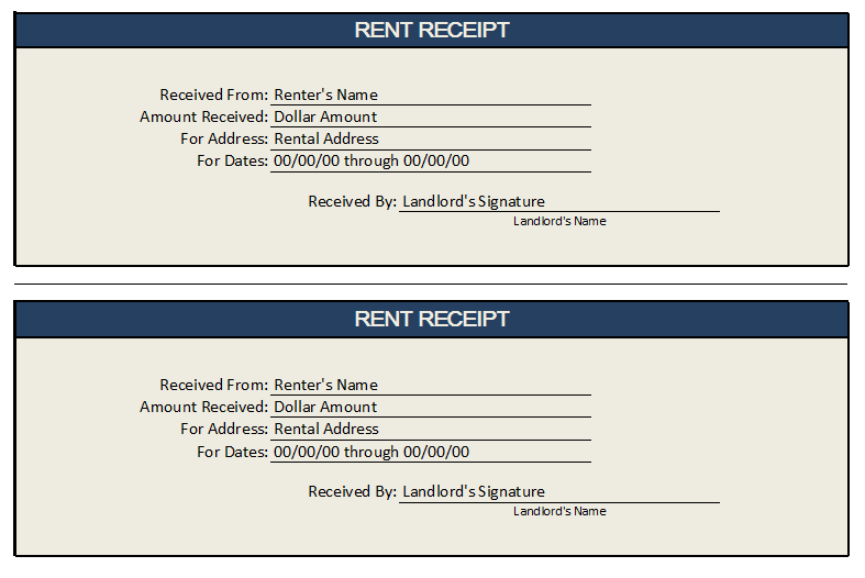 Rent Receipt Template 02