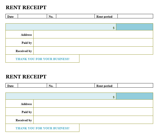 Rent Receipt Template 06