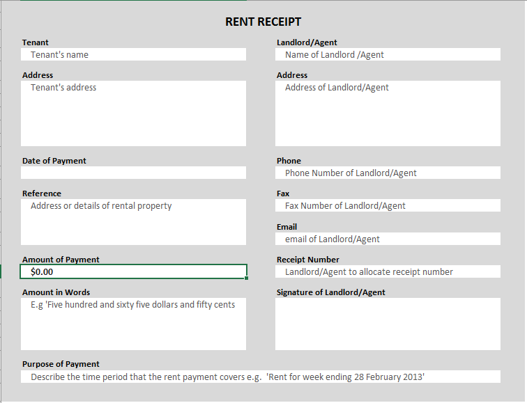 Rent Receipt Template 07