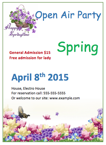 Springtime Party Invitation Flyer Template | Format & Template