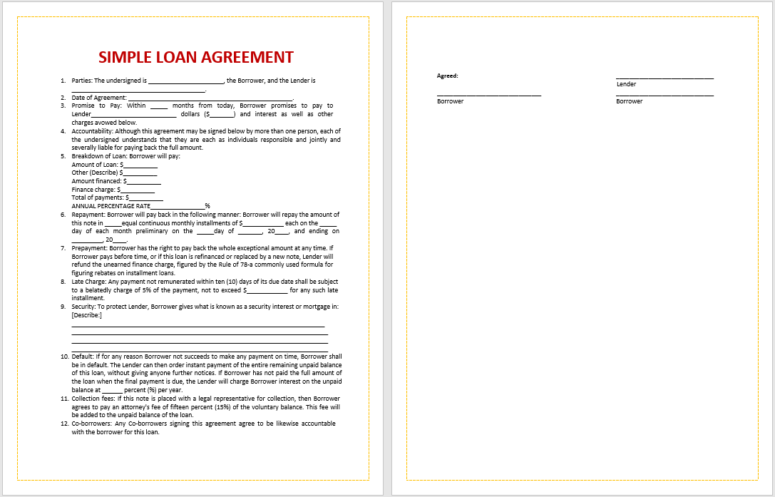 loan agreement template 10