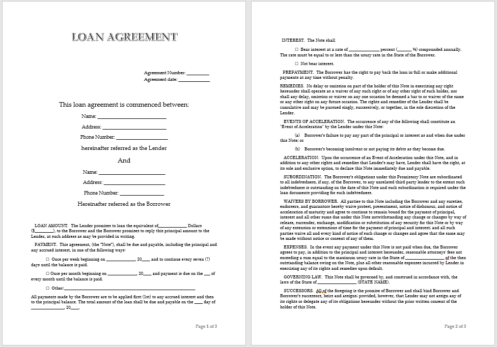 loan agreement template 16