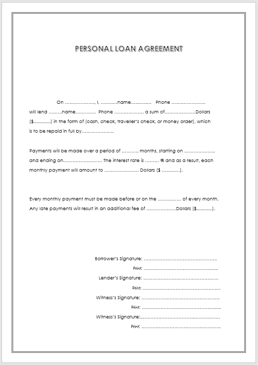 loan agreement template 18