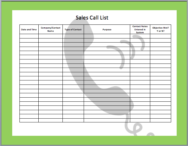 sales call schedule template