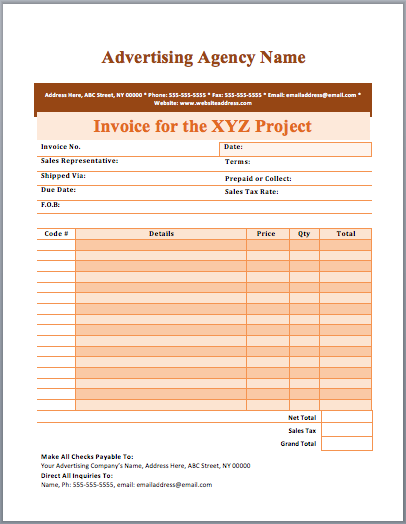Advertising Agency Invoice Template | Format & Template